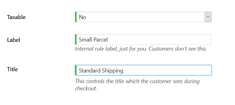 Image of setting shipping title