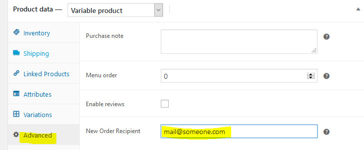 Image of setting recipient of shop order email