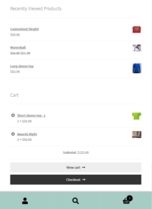 Recently viewed and cart widgets